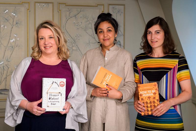 2018 shortlisted authors, Gail Honeyman, Preti Taneja and Paula Cocozza.